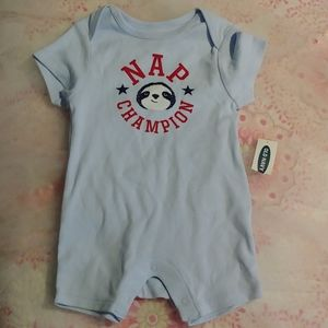 NAP CHAMPION Old Navy onsie, size 3-6 mos